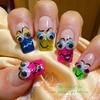 Fun Neon French Smileys Googley eyes nails.