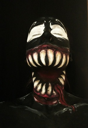 Using full face - face painting to create a take on the classic Spiderman villain Venom