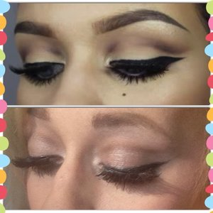 I re-created a look by the beautiful makeup guru Samantha (YouTube channel:batalash IG: ssssamantha ) she is so beautiful and I love watching her videos because she talks throughout instead of leaving an empty silence which I hate lol she's super talented and she is such an inspiration ( she's in her early 20's I think 22 or 23)  And I( personally ) love all her looks , especially this one I re-created . ( as you can obviously tell) Samantha's original is on top and my recreation is on the bottom I know it needs some work ( blending , coloring , ect.) I didn't have the exact colors she used ( she used mostly colors from the two faced chocolate bar palette ) anyways hope you like it!💕( sorry had to ramble on about her because I just think she's so talented lmao )