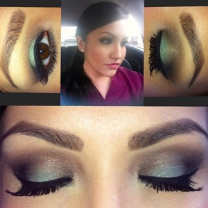 Couldn't wait to try out my new mint eyeshadow from Inglot! I also used my Naked 2 palette from urban decay.