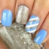 Blue Silver And White Nails
