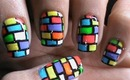 Bricks Nail Art - Colorful Neon Color Block / Blocking Designs short / Long Nails DIY Tutorial Video