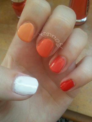 Love these, they didnt take me long to do at all:D  Products Used -  Thumb - NYC 'Pinstripe White' First finger - Nails Inc 'Hobart Place' Middle finger - Nails Inc 'Porchester Place ' Ring finger - Bourjois ' Tangerine Fatal '  Pinkie finger - Nails Inc ' Royal Crescent '