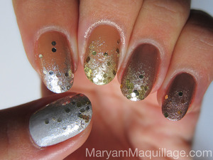 Neutral, but glam, simple nail art. More info: http://www.maryammaquillage.com/2012/08/stacking-mixing-matching.html