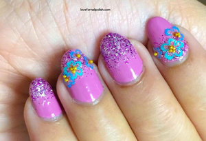 Detail Tutorial http://lovefornailpolish.com/pink-glitter-nail-design-flower-stickers