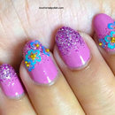 Pink Glitter and Blue Flowers