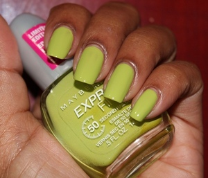 A hot lime green perfect for the summer! Reminds me of kermit though!  http://www.chinadolltt.blogspot.com/2012/07/plain-old-polish-maybelline-express.html