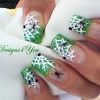 Halloween Green French Spider Webs Nails