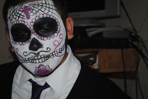 my bf's dia de los muertos look...man this requires patience!