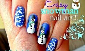 Easy Snowman Nail Art!!! ❄