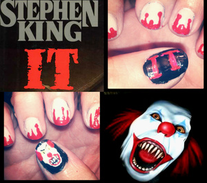 """this was the scariest halloween movie to me as a child and it still freaks me out today but when i decided to do halloween nails i saw that not a lot of people were using """"it"""""""