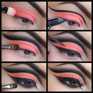 Step by step: 1. Apply a primer first, then MAC neo-orange pigment all over the lid with #239 brush 2. Cut the crease with a black pencil liner 3. Blend up and out with MAC carbon shadow and #228 brush, soften with #217 brush 4. Line upper lash line with MAC blacktrack fluidline and #210 brush 5. Line lower lash line & blend out 6. Apply lashes & mascara :)