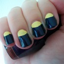 Yellow & Blue Half Moon Manicure