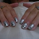 Silver polish with flower stickers