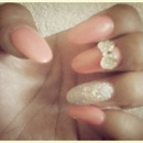 Coral glitter with cute bow