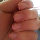 pink tips with glitter :)