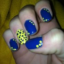 blue and yellow polka dots