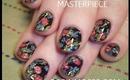 ROMANTIC BLACK  VINTAGE FLORAL BOUQUET : robin moses nail art flower tutorial 482