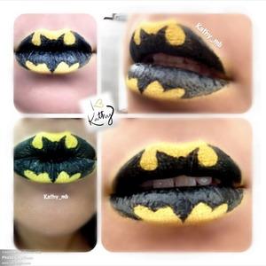 Batman lips I use yellow eyeshadow and black eyeliner