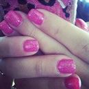 Hot Pink Glitter nails.