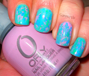 Orly Lollipop, Orly Skinny Dip, China Glaze Aquadelic, and Finger Paints 15 Minutes of Frame http://summerella31.blogspot.com/2013/03/toothbrush-nail-art.html#