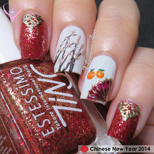 In celebration of the Chinese New Year holidays, I got down to some festive nail art. More details on the blog: http://www.alacqueredaffair.com/Chinese-New-Year-2014-33841072