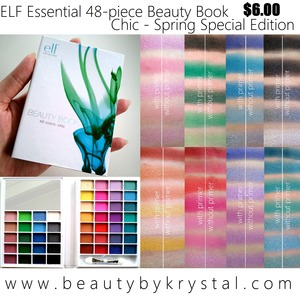ELF Essential 48-Piece Eyeshadow Beauty Book in Chic, retails for $6.00. 48 eye shadows, 1 mirror and 1 sponge applicator. The shades range from nudes to brights to smoky, and finishes from matte to shimmer to frost. I absolutely adore this palette, so I made sure to take as many photos and swatches as I could. Grab yours now before they are gone! FULL POST: http://www.beautybykrystal.com/2013/04/elf-48-piece-beauty-book-chic-spring.html