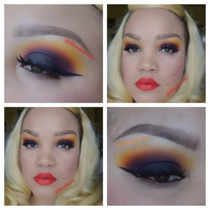 Follow me @Blondiemocha on Instagram for more looks!!   Burning Sunrise... ☀️🔥  I began by using Urban Decay eyeshadow primer as a base.   Eyes -  Buttercup Cake (Upper Eye, Sugarpill Cosmetics) Flamepoint (Upper Eye and Crease, Sugarpill Cosmetics)  Poison Plum (Crease, Sugarpill Cosmetics) Carbon (Lid, MAC Cosmetics)  Brows - Anastasia Beverly Hill Brow Wiz in Soft Brown.   Lashes - Marilyn Lashes by Lasplashcosmetics  Lips - Morange Lipstick, Redd Lip Liner, and Ruby Woo (all MAC Cosmetics)