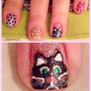 Sparkle Polka Dot Manicure with a Cat!