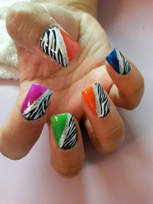 zebra nails with different colors of nail polish :)