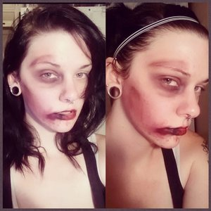 my first attempt at any kind of special effect makeup using mostly eyeshadow, eyeliner and bronzer