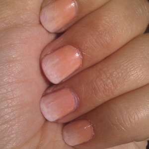 nude and white aquarel painted nails