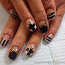 Black And Nude Nails With Small Gold Studs