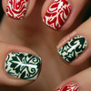 Christmas-y damask print nails