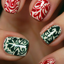 Christmas-y damask print nails