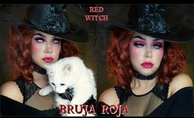 🎃 BRUJA ROJA maquillaje / 🐈RED WITCH Halloween makeup tutorial| auroramakeup