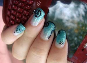 Tokio Hotel related. Decorated with Sharpie!.  More pics here: http://ishprivate.blogspot.com/2012/03/th-nails.html