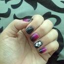 Black and pink nails