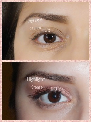 I used bobbi browns pretty powerful palette for this look.  Here I show you where you apply eyeshadow...easy for a makeup newbie..