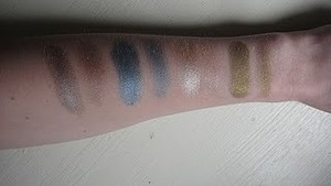 MAC's: Gallery Gal (dry, wet) & Bright Side (dry, wet), Hard Candy: Love Bug (dry, wet)