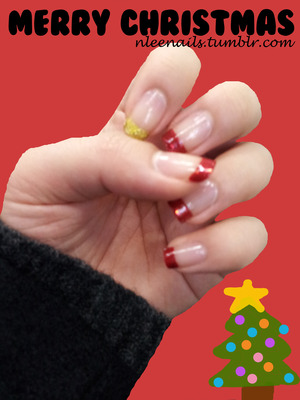 MERRY CHRISTMAS ♥♥  Christmas color: RED   For a bit of holiday season feel, I added slight sparkles on the overall red french & gave a pop to the rather ordinary design with a gold french. Decorate the tip of your nails like the tree ornaments (:  @nleenails