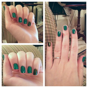 Christmas nails! Forest Green by request of my boyfriend! The pinkies are OPI's Here Today ... Aragon Tomorrow under China Glaze's Zombie Zest and the fingers are Here Today ... Aragon Tomorrow under OCC's Chlorophyll to make a forest green.