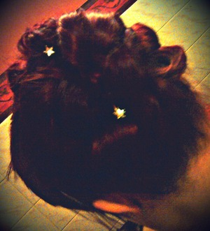 Pinned up my hair and added 2 star clips