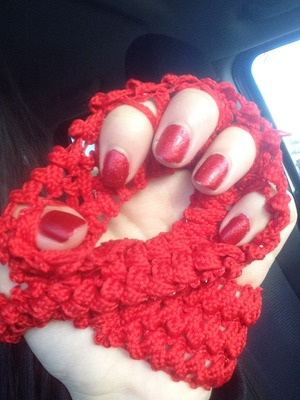 Red nail polish and red fine glitter give your red nails pop and are a new twist of an old classic