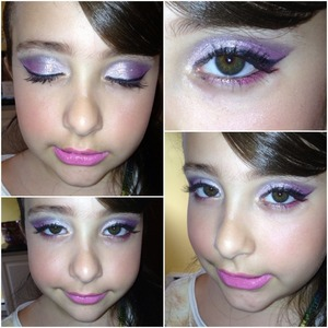 Silver, pink , coral and black Smokey eye for her 8th Birthday !