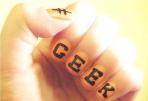 #GEEK Nail Art by Sophie J. Avon Pro Nail Enamel In Shade Orange Creamsicle. Nail Art Pen in Black