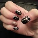 Black and dot nails
