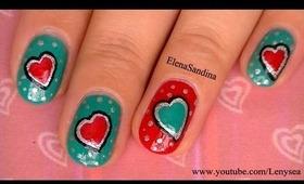 Teal Valentine's Day Nail Design