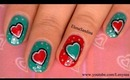 Teal Valentine's Day Nail Design