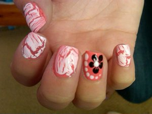 white crackle, coral with floral desgin